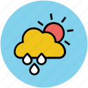 cloud, forecast, rain, raining, sun, sunny rain, weather icon