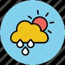 cloud, forecast, rain, raining, sun, sunny rain, weather icon