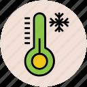 cold, snow falling, snowflake, temperature, thermometer, winter icon
