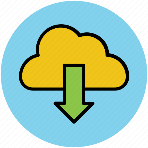 cloud, cloud computing, cloud download, down arrow, downloading icon