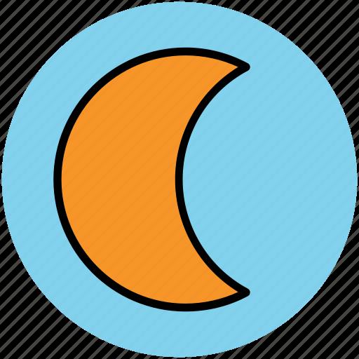 crescent, lunation, moon, moonlight, night, satellite icon