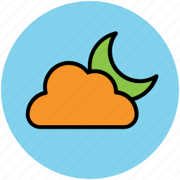 cloud, forecast, moon, night, weather, weather report icon