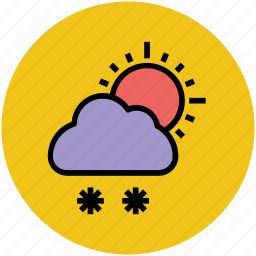 cloud, cold, daytime, snow falling, sun, weather, winters icon