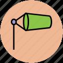 air sleeve, airsock, meteorology, visual signal, wind cone, wind gauge, wind sleeve, windsock icon
