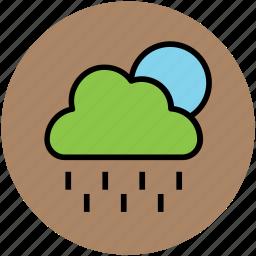 cloud, forecast, full moon, nature, night, rain, raining, weather icon