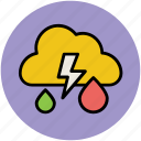 cloud, forecast, lightning, raining, thunder, weather, weather outlook, weather prediction icon