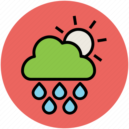 climate, clouds, forecast, rain, raining, sun, weather icon