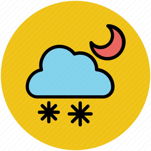 climate, cloud, forecast, moon, night, snow falling, weather icon
