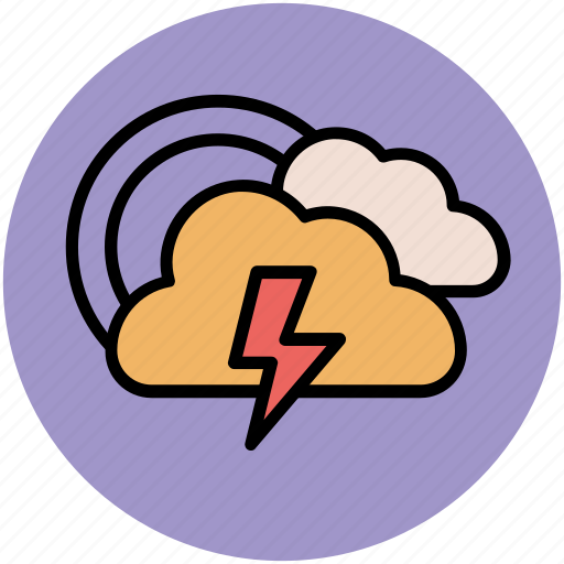 clouds, rainbow, thunderbolt, weather, weather prediction icon