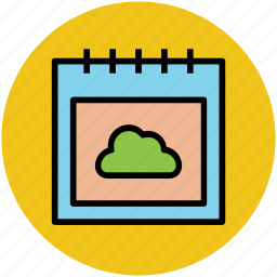 calendar, cloud sign, weather forecast, weather informer, web ui icon