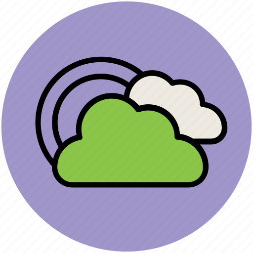 clouds, pleasent weather, rainbow, weather, weather forecast icon