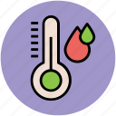 cold, hot, instrument, rain drops, temperature, thermometer icon