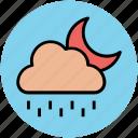 cloud, forecast, moon, nature, night, rain, raining, weather icon
