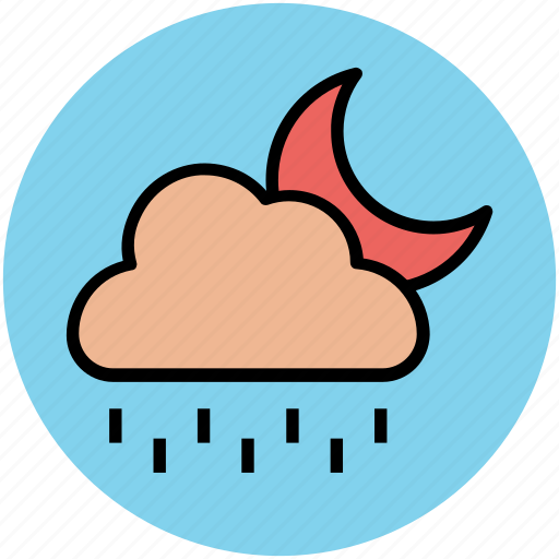 cloud, forecast, moon, nature, night, rain, raining, weather icon