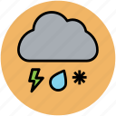 cloud, lightning, rain, snowfall, thunderstorm, weather, weather forecast, winter icon