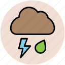 cloud, lightning, nature, rain, rain drop, thunder bolt, weather icon