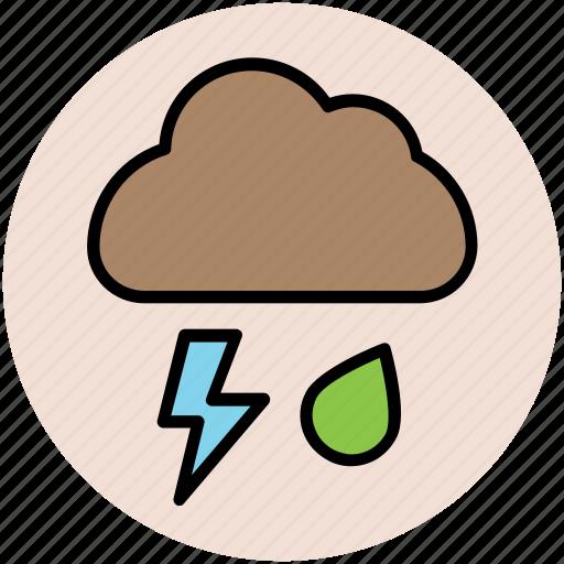 cloud, lightning, nature, rain, rain drop, thunder bolt, weather icon