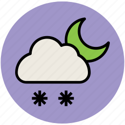 cloud, forecast, moon, night, snow falling, weather, weather report, winter icon