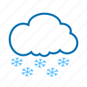 cloud, color, snow, snowflake, weather icon