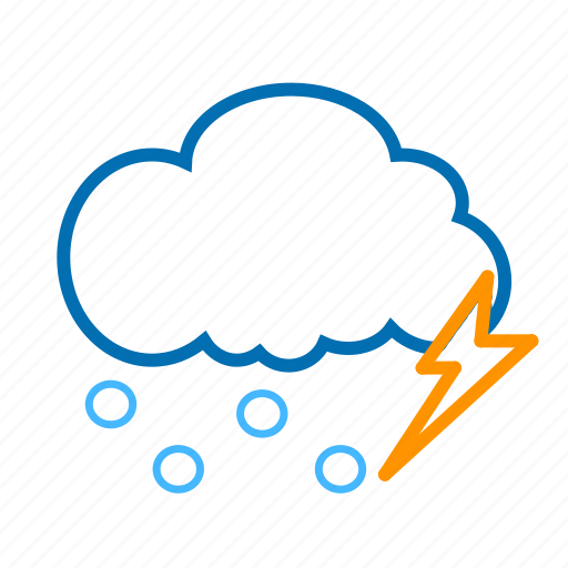 cloud, color, hails, lightning, weather icon