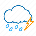 cloud, color, lightning, rain, weather icon