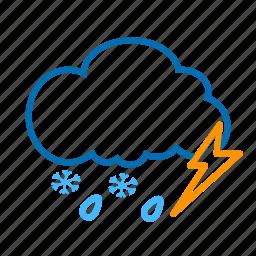 cloud, color, lightning, rain, snow, snowflake, weather icon