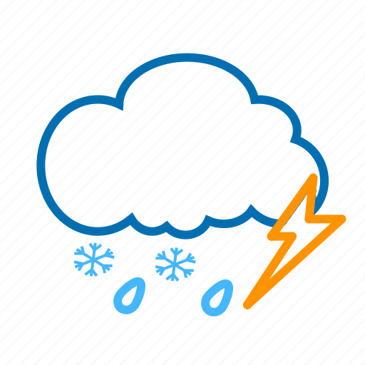 cloud, color, lightning, rain, snow, snowflake, weather icon