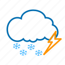 cloud, color, lightning, snow, snowflake, weather icon