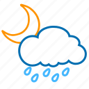 cloud, color, moon, rain, weather icon