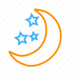 color, moon, star, weather icon