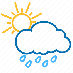 cloud, color, rain, sun, weather icon
