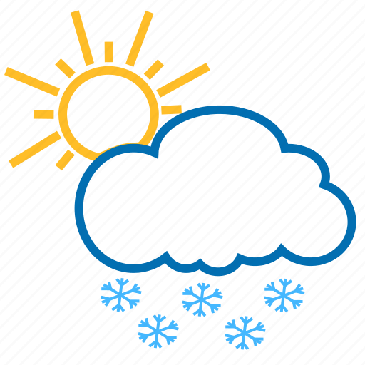 cloud, color, snow, snowflake, sun, weather icon