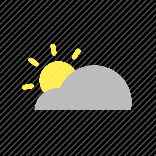cloud, cumulus, day, flat design, sky, sun, weather icon