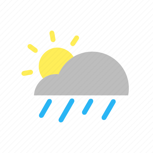 cloud, day, flat design, forecast, rain, sun, weather icon