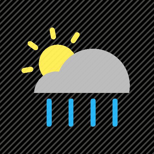 cloud, day, flat design, forecast, rain, sun, weather icon