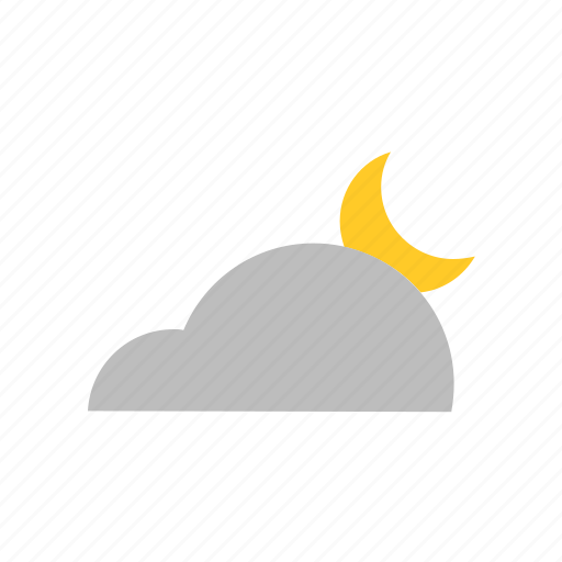 cloud, cumulus, forecast, moon, night, weather icon