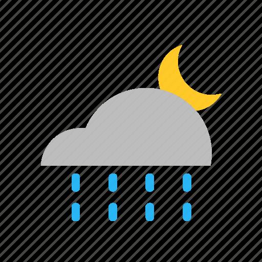 cloud, flat design, forecast, moon, night, rain, weather icon