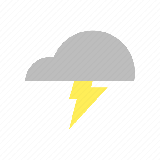 cloud, flat design, forecast, lightning, storm, thunder, weather icon
