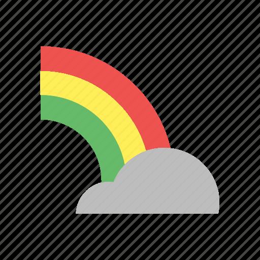 cloud, forecast, rain, rainbow, sun, weather icon