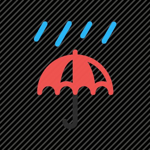 forecast, rain, rainy, storm, umbrella, weather icon