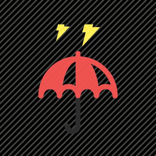 flat design, forecast, rain, storm, thunder, umbrella, weather icon