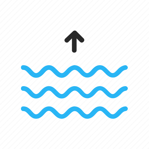 flat design, forecast, ocean, sea, tide, up, weather icon