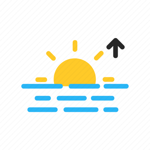 flat design, forecast, morning, sea, sun, sunrise, weather icon