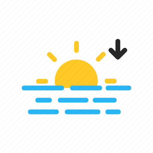 evening, flat design, forecast, sea, sun, sunset, weather icon