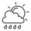 climate, cloud, forecast, rain, sky, sun, weather icon