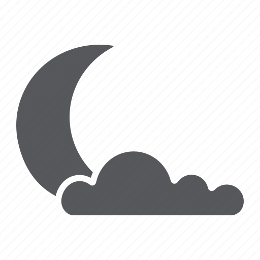 climate, cloud, moon, night, sleep, weather icon