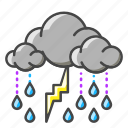 weather, forecast, clouds, lightning, rain icon