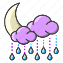 weather, forecast, moon, clouds, rain, night, cloudy