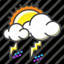 weather, forecast, sun, lightning, sky, thunder, bolt