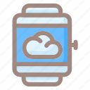 smartwatch, weather, cloud, storage, data, sun, forecast